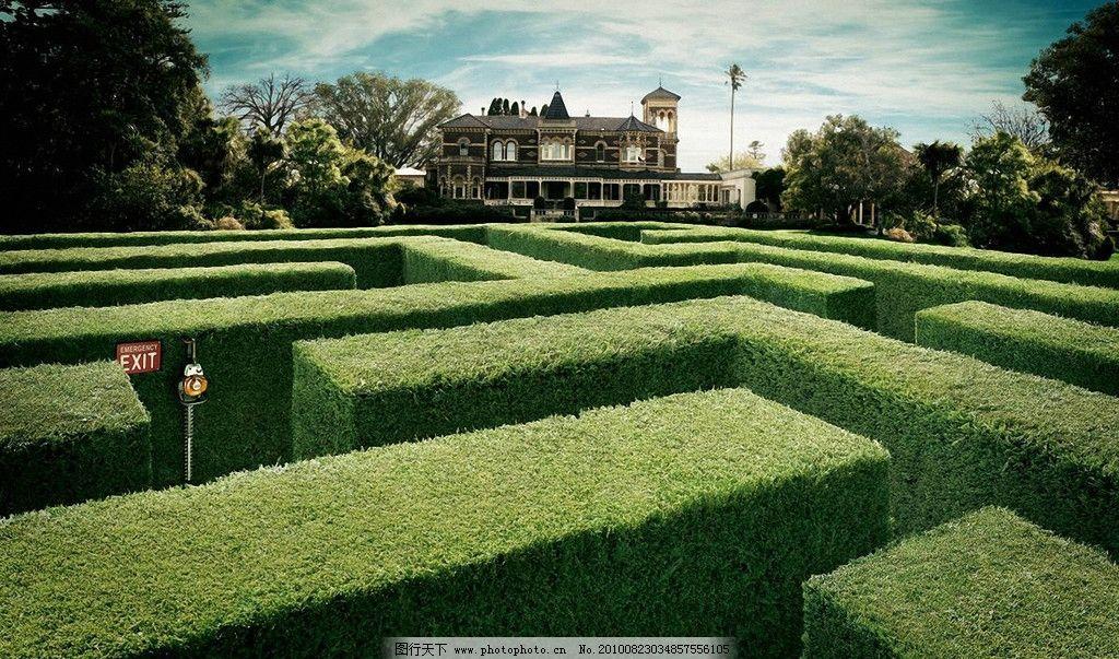 迷宫 广告设计 房屋 植物