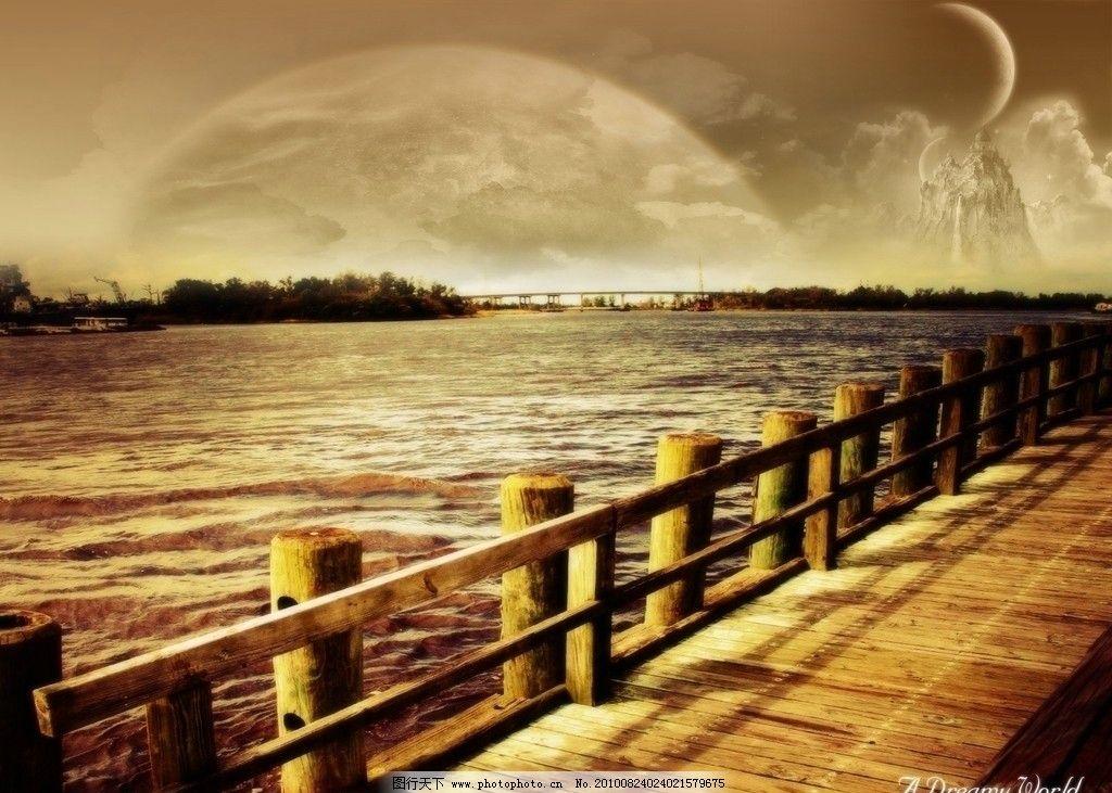 桌面壁纸 桥 海边 合成 唯美 风景 自然