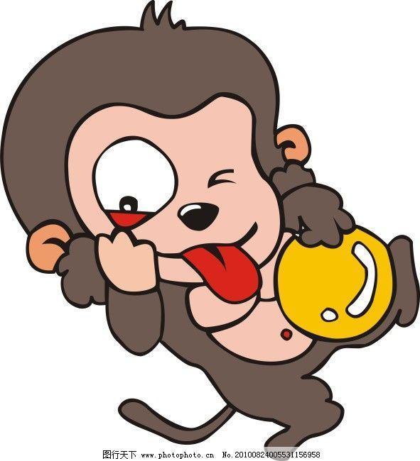 可爱小猴免费下载 动物 动物卡通画 动物矢量图 动物世界 猴子 野生