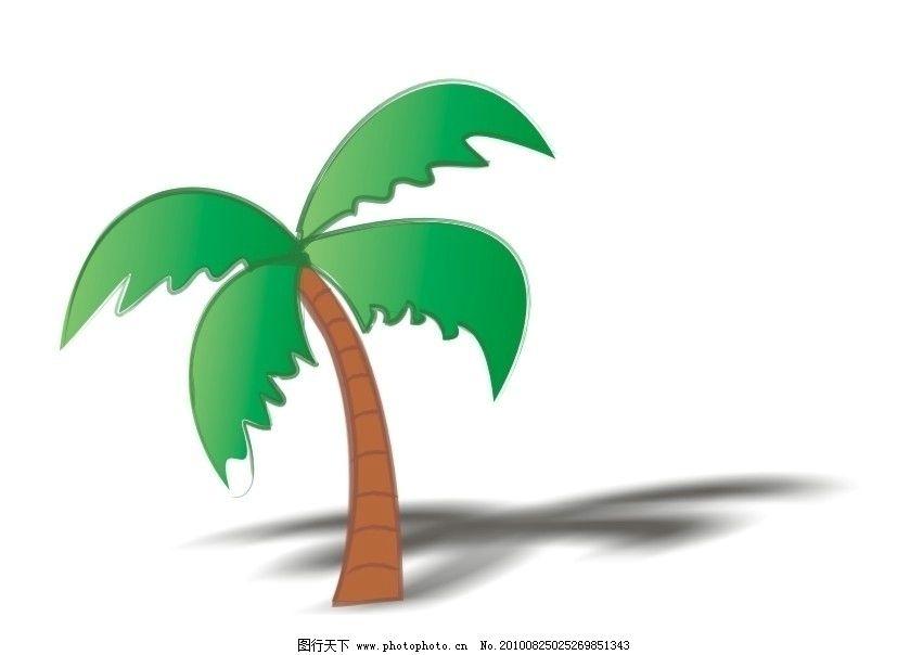 卡通棕榈 热带沙漠 沙滩 上的 椰子树 树木树叶 生物世界 矢量 cdr