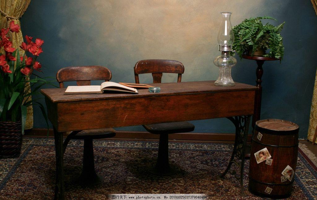 室内陈设高清 欧式 桌子 椅子 花朵 窗帘 木桶 植物 墙体 墙面