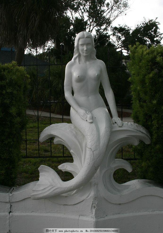 美人鱼雕塑图片 摄影图片
