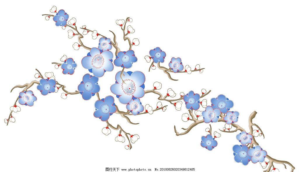 梅花花纹 底纹边框 梅花 青花瓷 图案 中国风 古典 青花 花边花纹