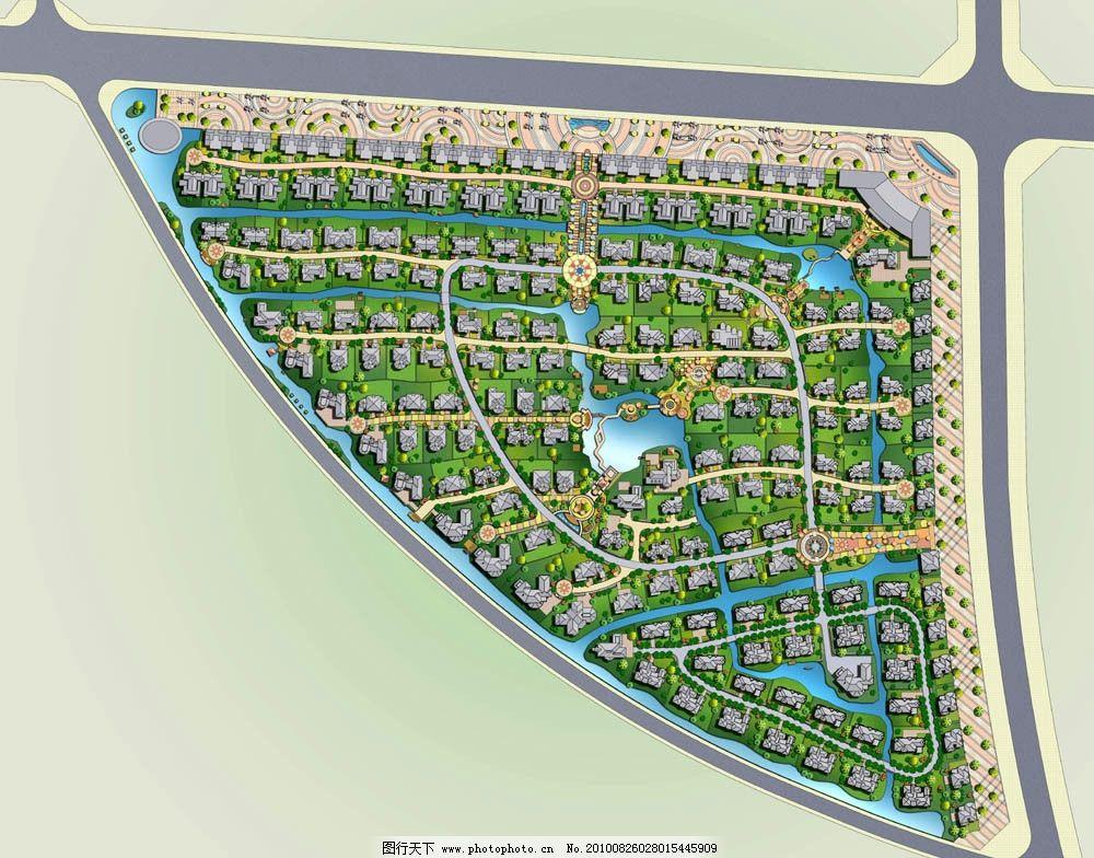 高档别墅区总平面规划设计图片