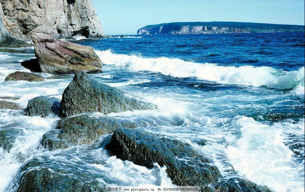 海岸风景图片,天空 岩石 悬崖 海水 海浪 潮水 远山