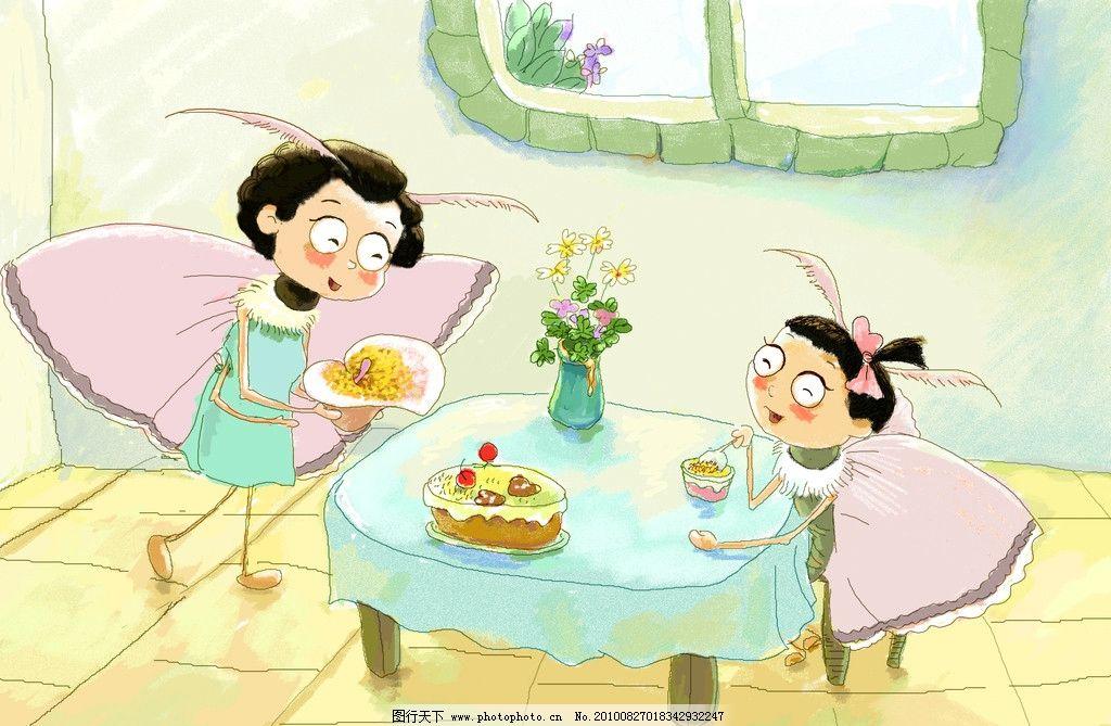 动漫画图片 母女 早餐 吃饭 蛋糕 生日 动漫人物 动漫动画 设计 72dpi