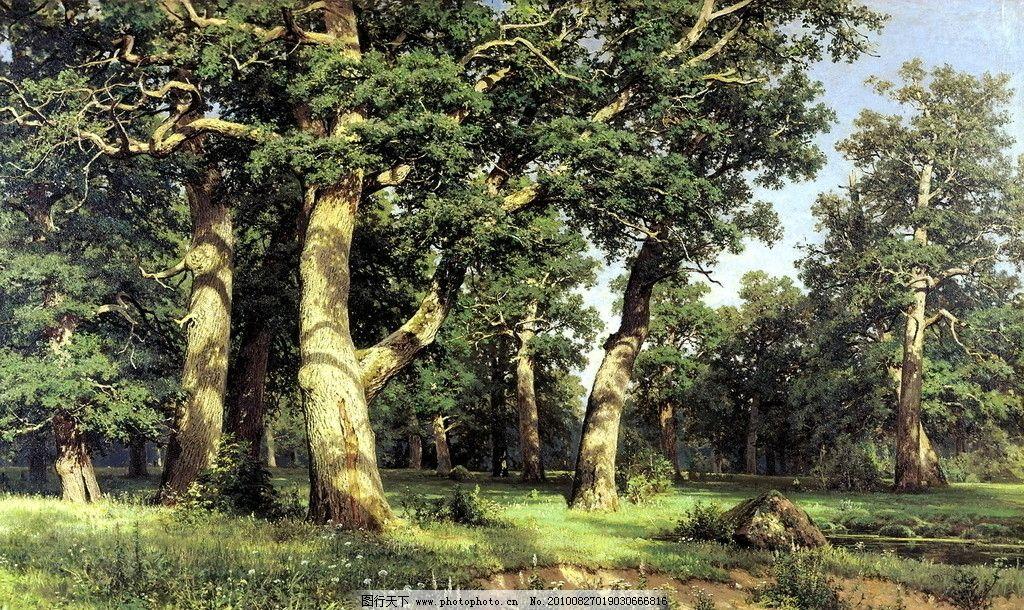 希什金油画 橡树林 俄罗斯绘画 油画 希什金 风景画 巡回画派 现实