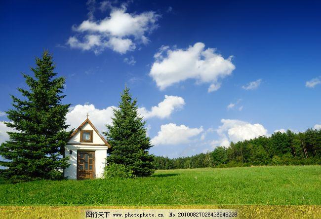 蓝天白云房子