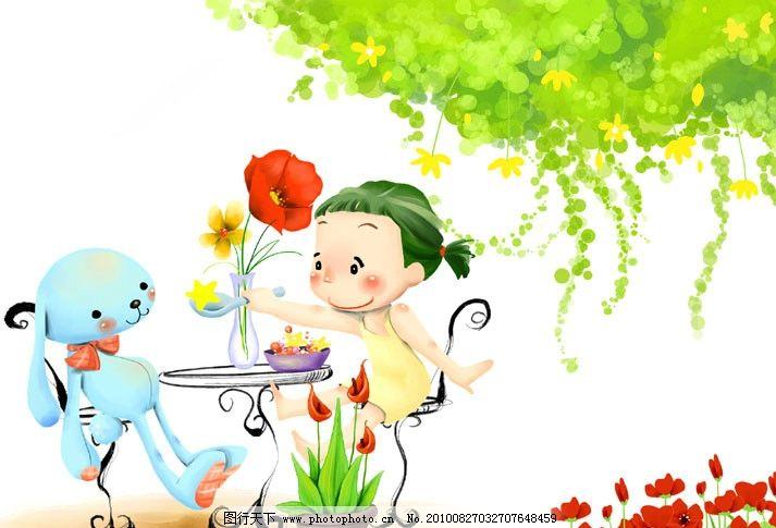 手绘插画 卡通小女孩 卡通 女孩 兔子 花 树 花盆 手绘卡通画 红色