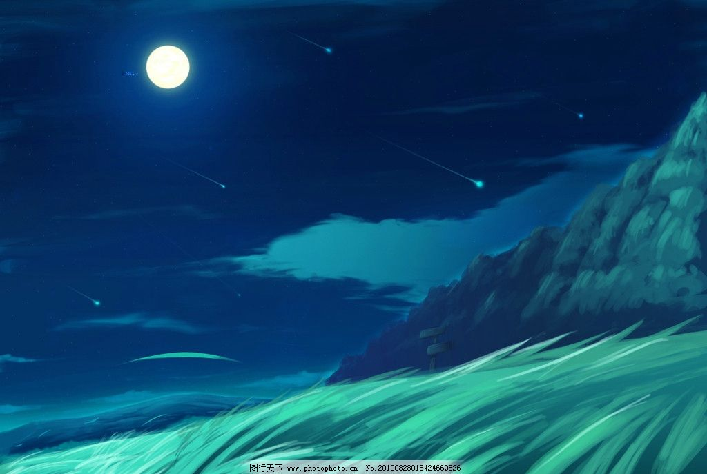 动漫夜景图片,童话森林 影楼背景 照片模板 婚纱模板