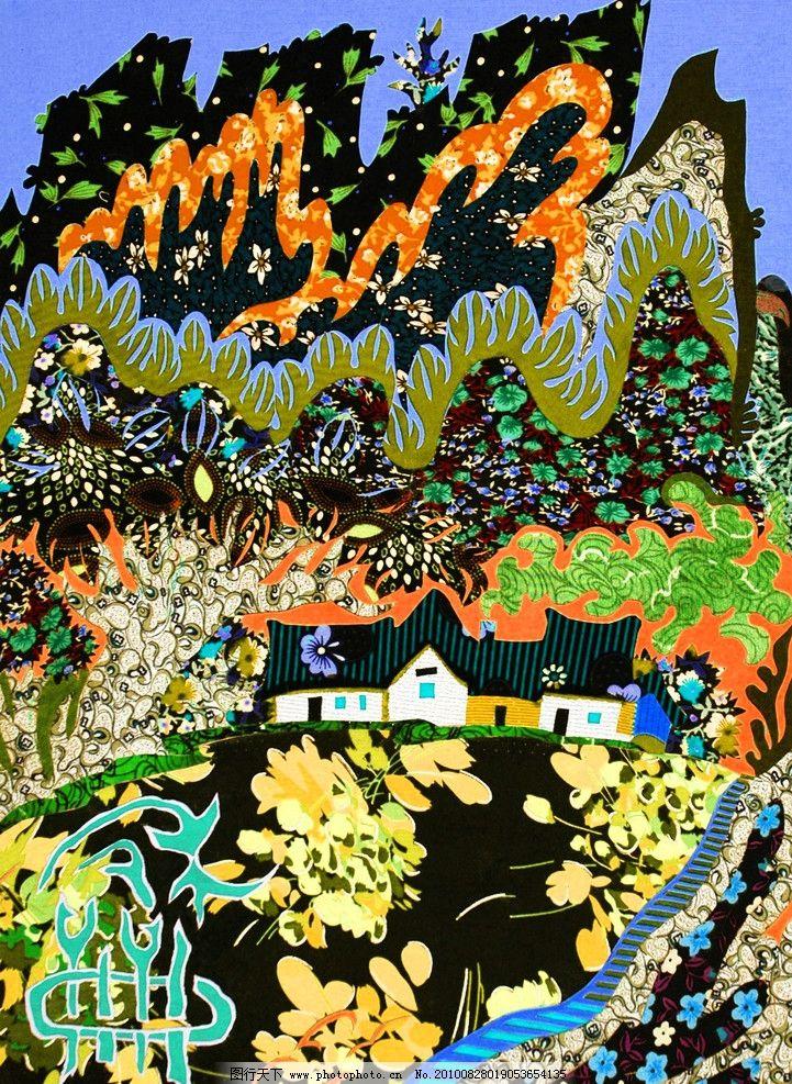 风景装饰画 美术 绘画 中国画 重彩画 装饰画 风景图案 植物图案 花纹