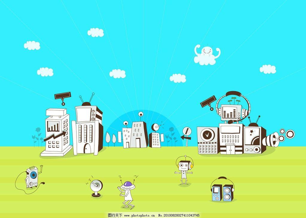 创意设计 插画设计 云朵 人物 音箱 太阳 卡通背景 商业插画 商务金融