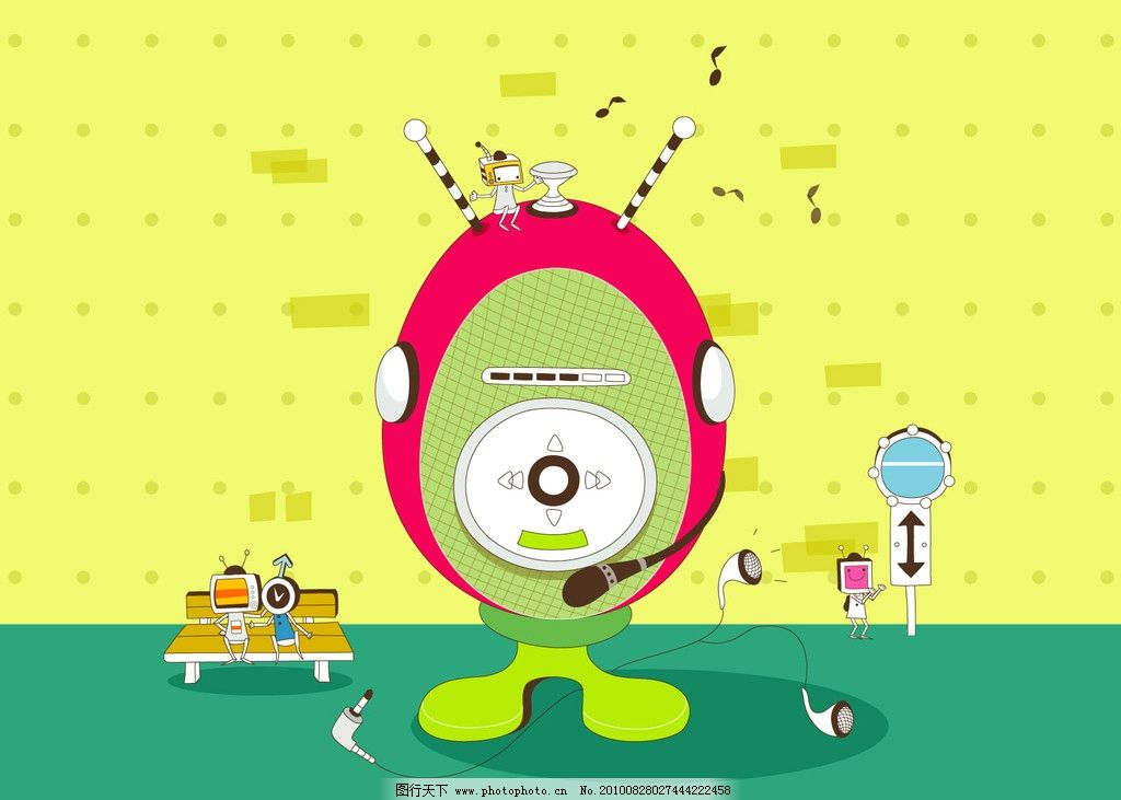 创意设计 广告设计 插画 圆点 边框 投影 cd机 立体效果 桌面背景