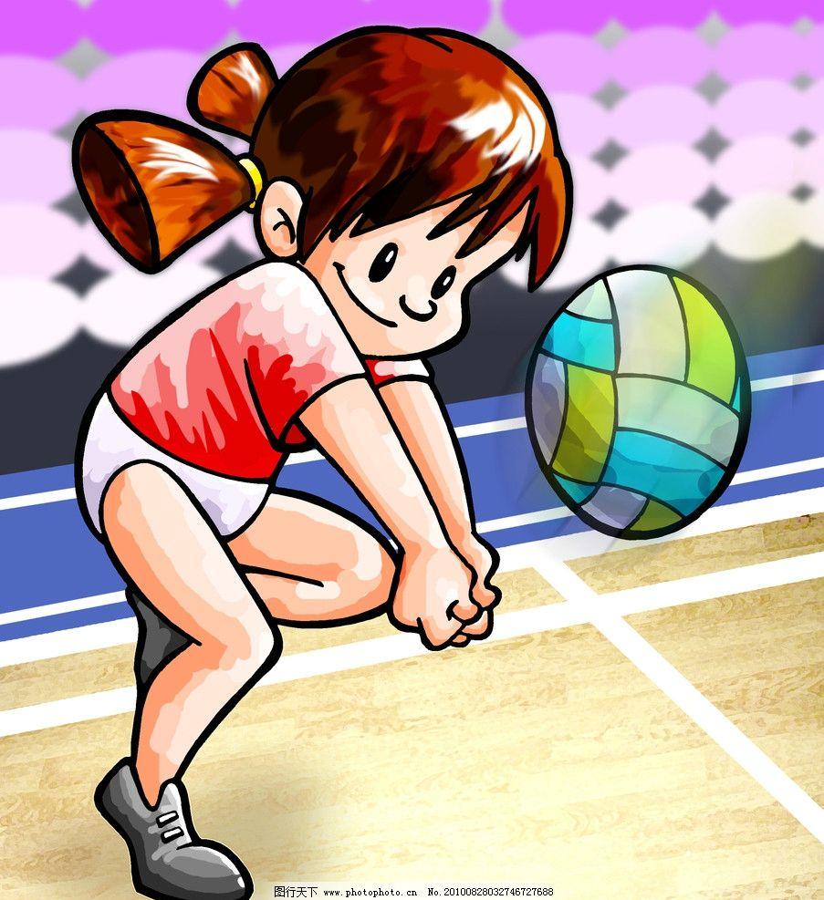 排球女将 漫画 人物 排球 女孩 女将 训练 可爱 小辫 psd分层素材 源