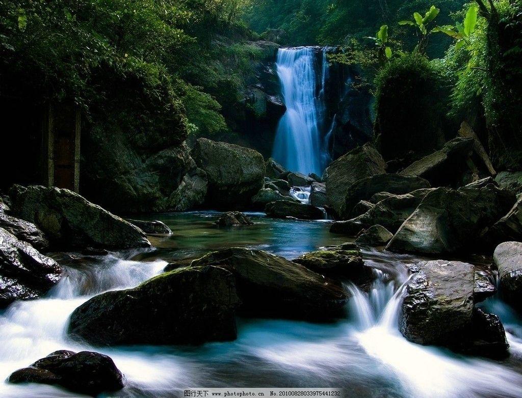 小溪 石头 风景 山水风景 自然景观 河流 瀑布 绿地 山地 树林 树木