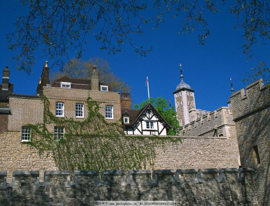 建筑 风光 古迹 西欧 欧美 蓝天 白云 树木 国外建筑 树枝 房子 国外