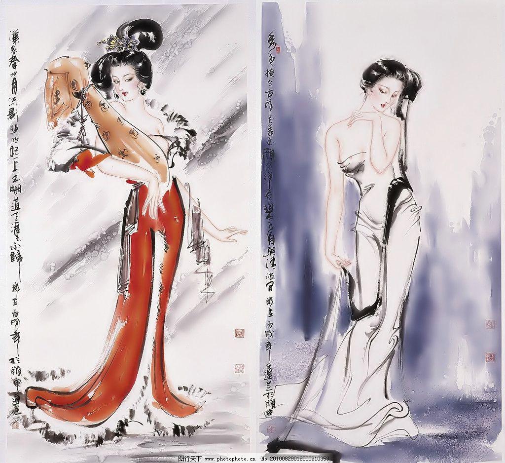 古代女人物水墨画