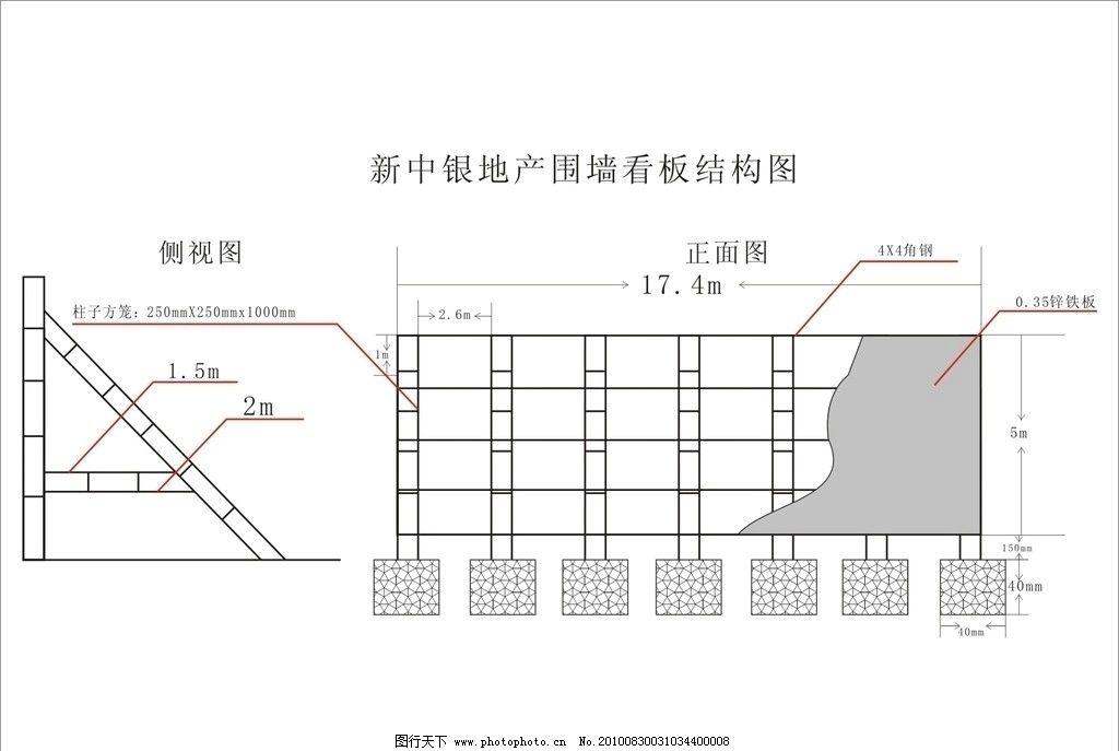 地产围啬看板结构图 铁架结构图