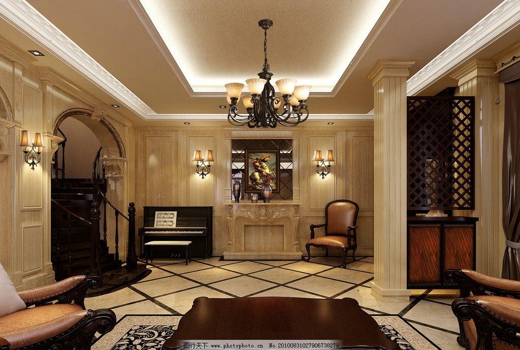 装修效果图 别墅 欧式 新古典 柱子 吊灯 吊顶 拱形门 壁灯椅子