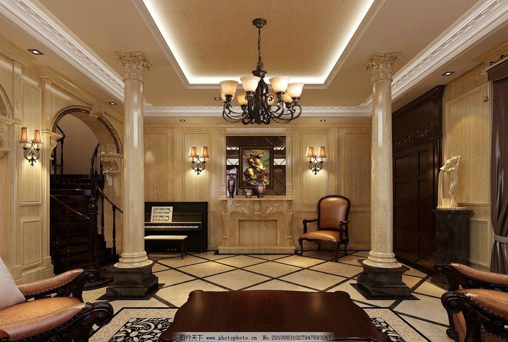 装修效果图        别墅 欧式 新古典 柱子 吊灯 吊顶 拱形门 壁灯
