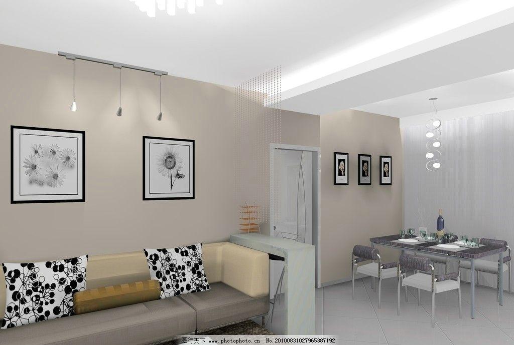 室内装修 室室内装饰 客厅装修 内墙装饰画 大沙发 黑白花纹靠垫 别致