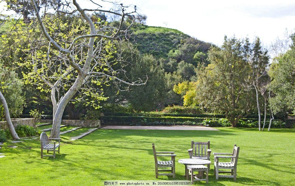 豪华别墅庄园里的花园风情图片