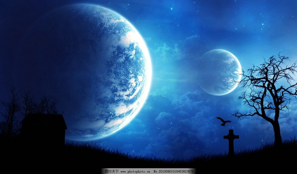 壁纸 星球 星空 后期 合成 风光 蓝色 静谧 风景漫画 动漫动画 设计 7