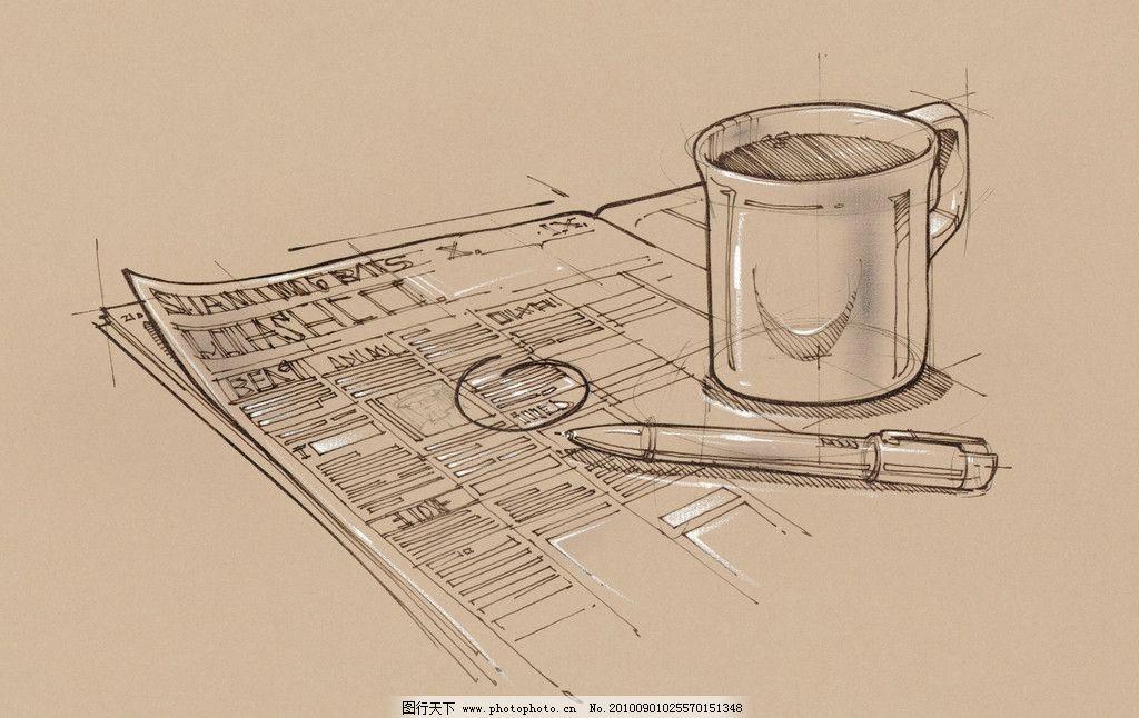 设计图库 生活百科 生活用品  手绘线图书籍咖啡 手绘 线图 书籍 咖啡