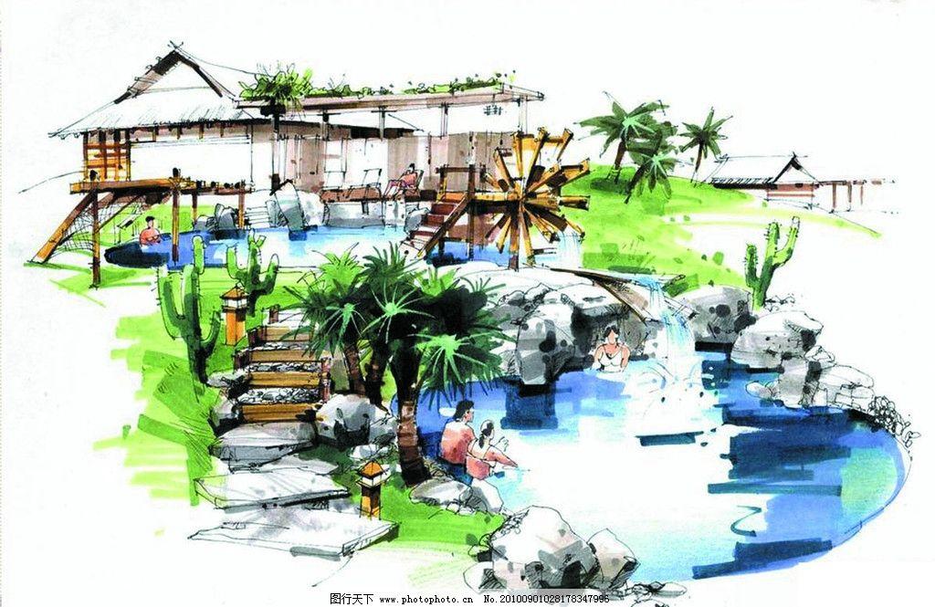 手绘景观效果图 手绘 景观        透视 水景 景观设计 环境设计 设计
