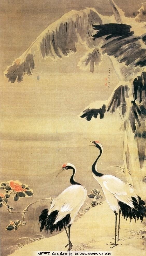 古典名家国画仙鹤芭蕉图