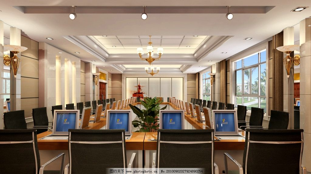 会议室 办公型 艺术造型吊顶 会议台 室内设计 环境设计 设计 150dpi