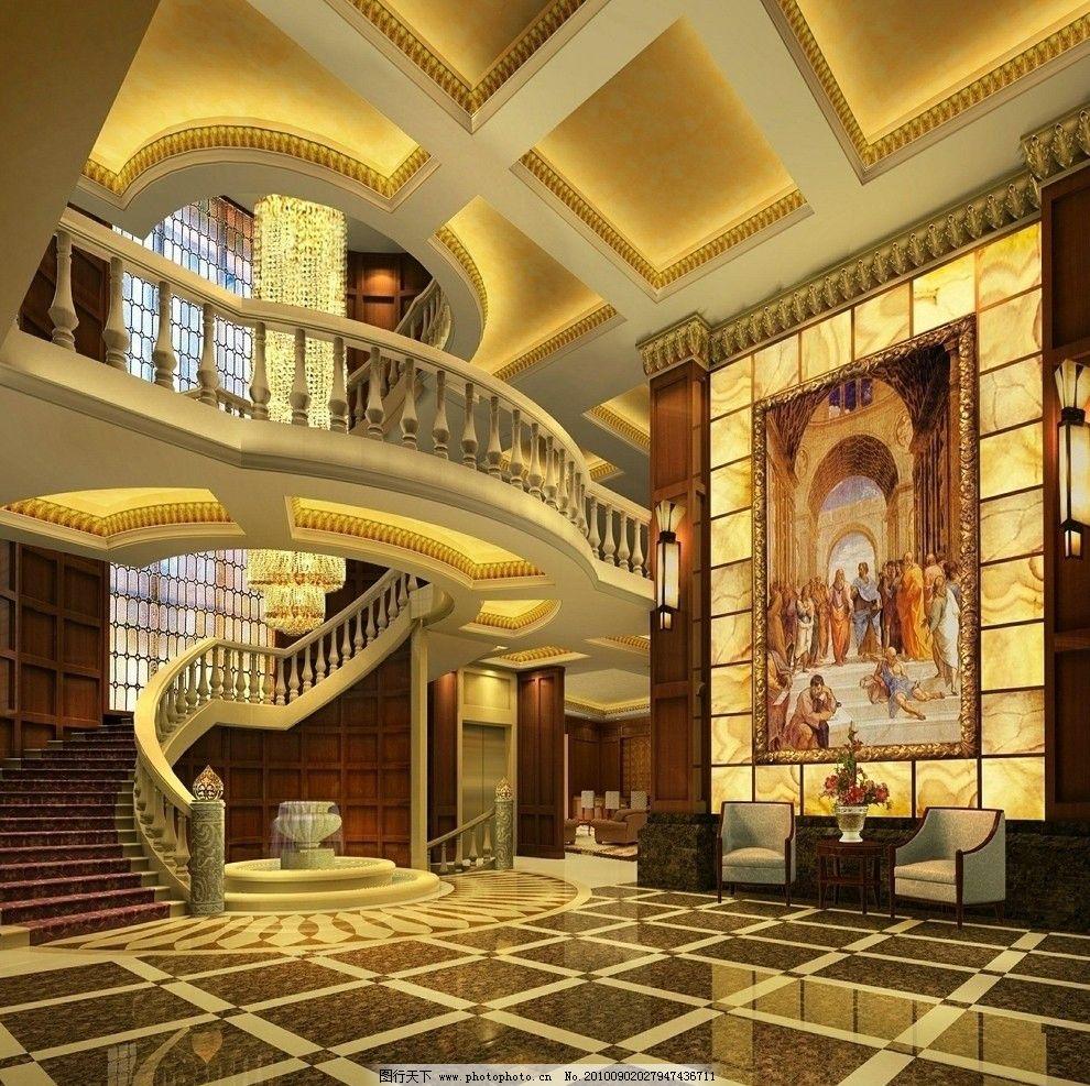 欧式别墅 穹顶 暖色调 软包 天然大理石 跃层 欧式部件装饰 室内设计