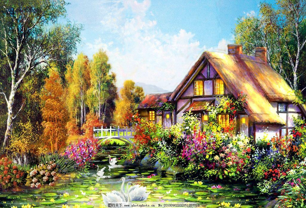 山村油画 油画 风景画 风景油画 油画风景 流水 河流 房子 桥 鸭子 鹅