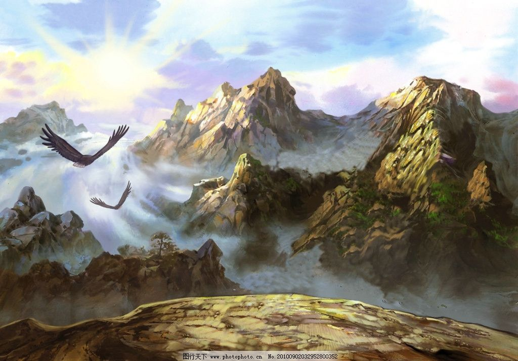 山 悬崖 手绘 鹰 背景 背景素材 源文件