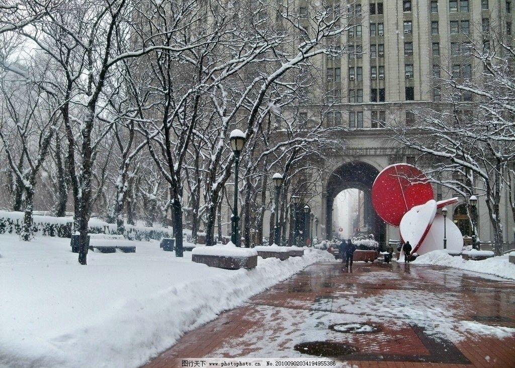 雪景 纽约 冬天 市中心 路道 积雪 纽约风景 旅游摄影 摄影