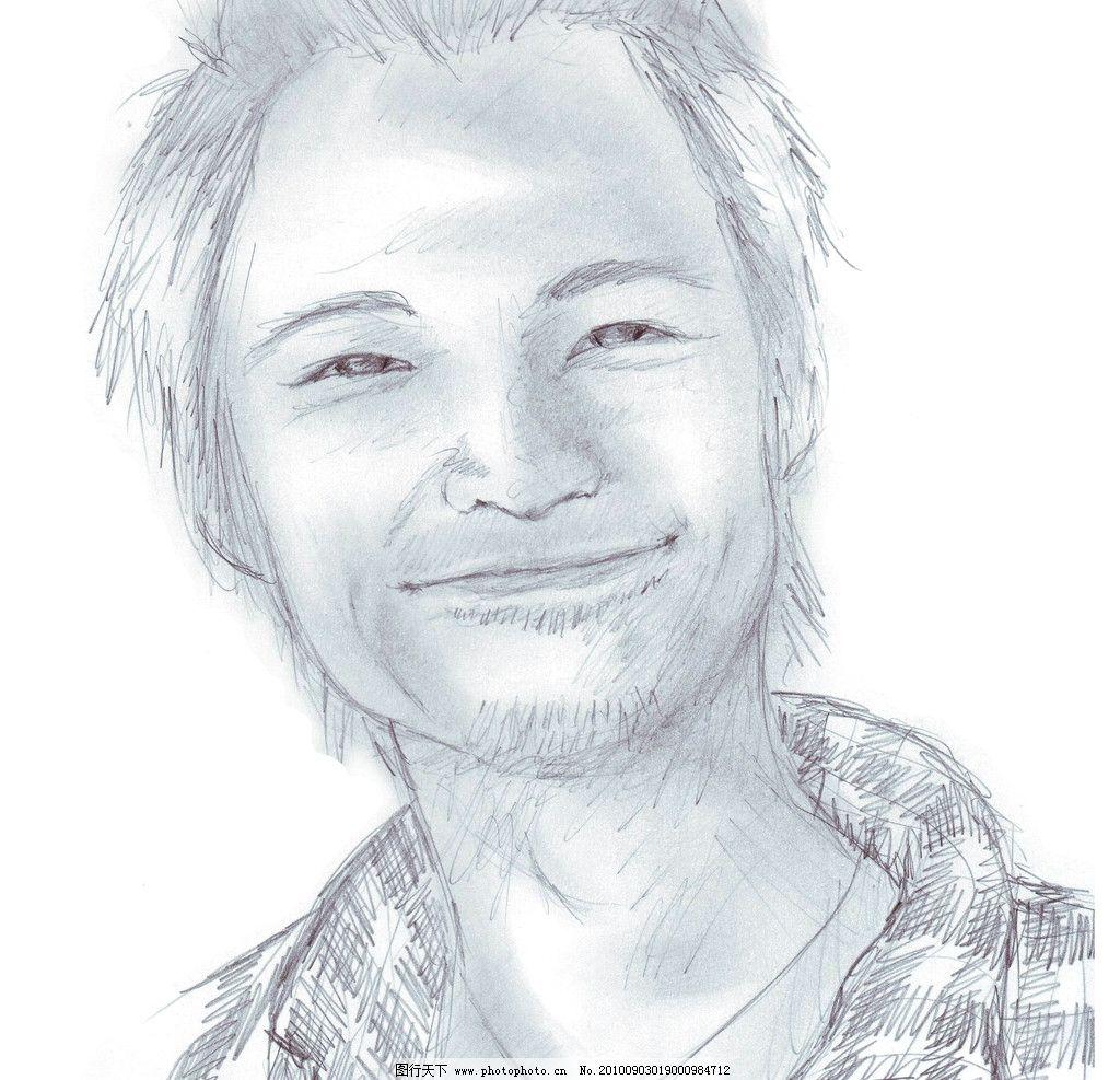 素描 现代 摄影 文化 艺术 美术 绘画 速写 男性 笑容 感性 沧桑 绘画