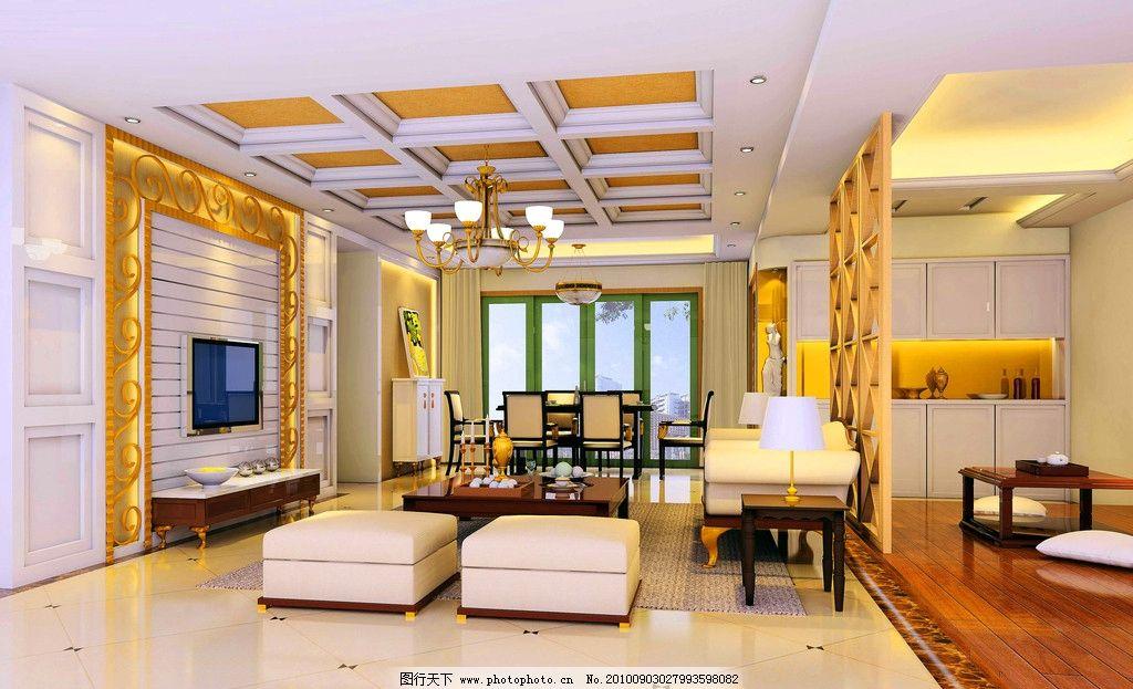 客厅效果图 推拉门 吊顶 大理石地面 皮沙发 白天 射灯 电视背景墙