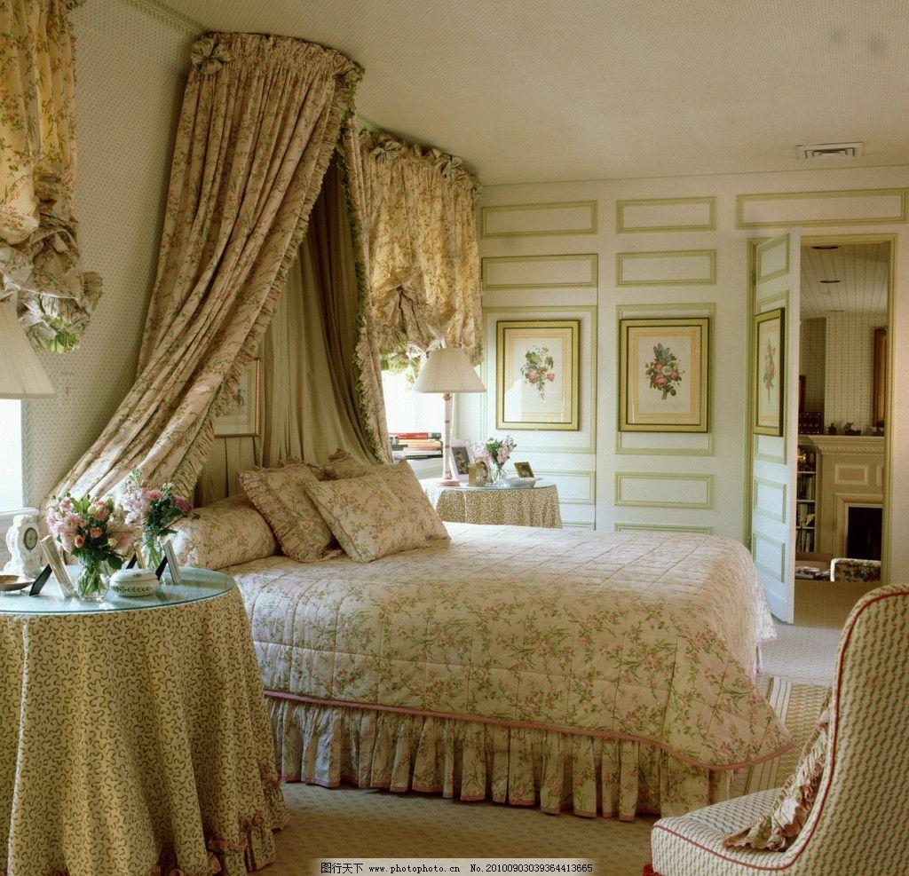 卧室图片,欧式 窗户 床 椅子 台灯 长凳 相框 天花板
