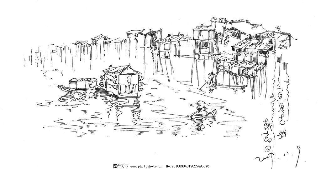 速写 素描 湘西 凤凰 少数民族 装饰画 线描 山水 水墨 苗族 土家族