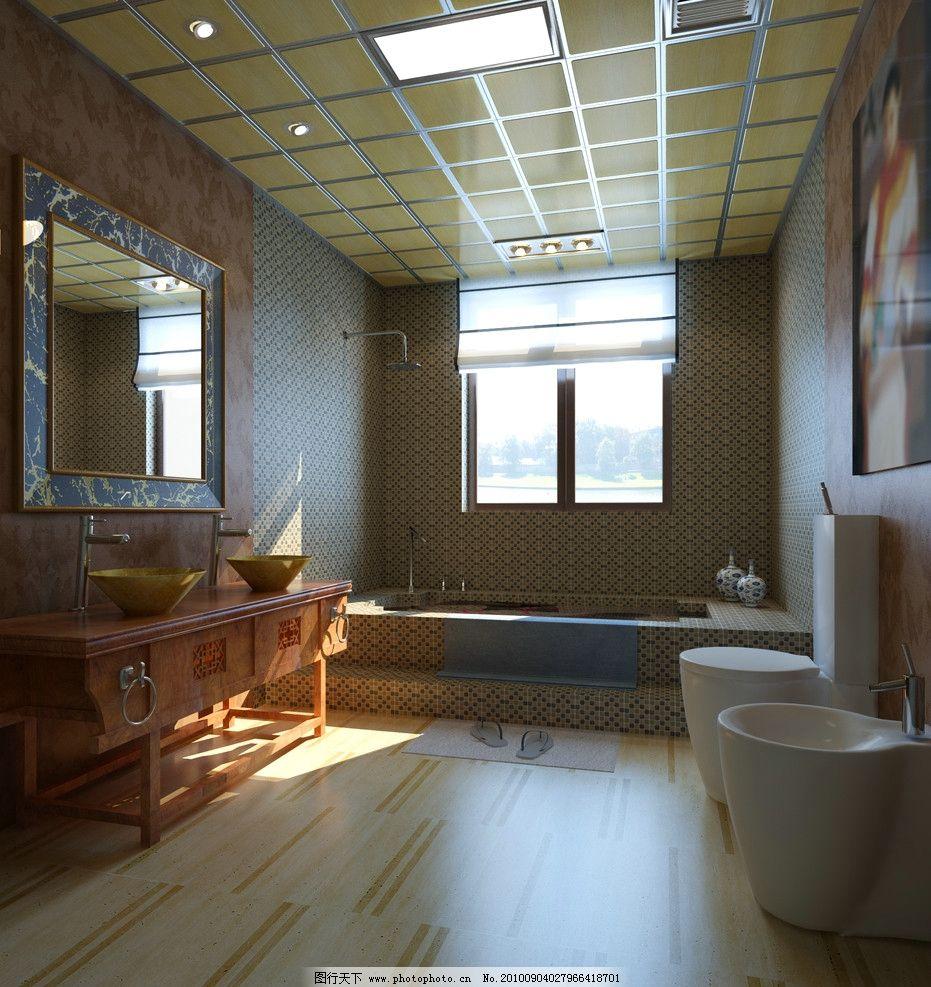 中式木纹扣板卫生间造型图片