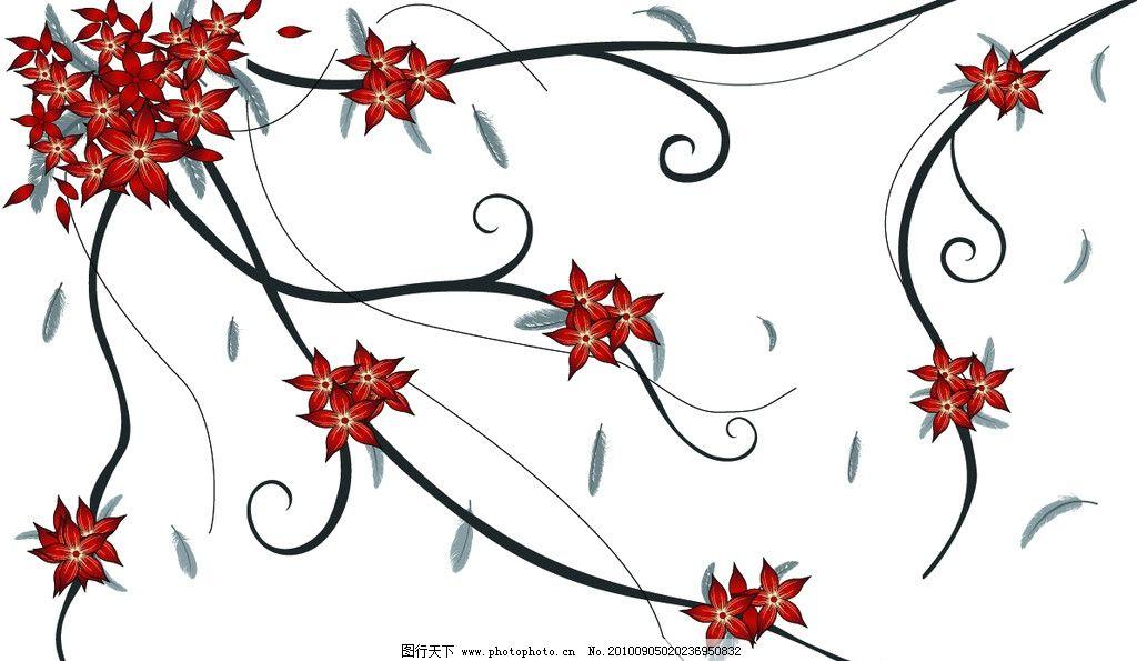 手绘背景 背景 手绘 线条 羽毛 五瓣花 红色 优雅 底纹背景 底纹边框