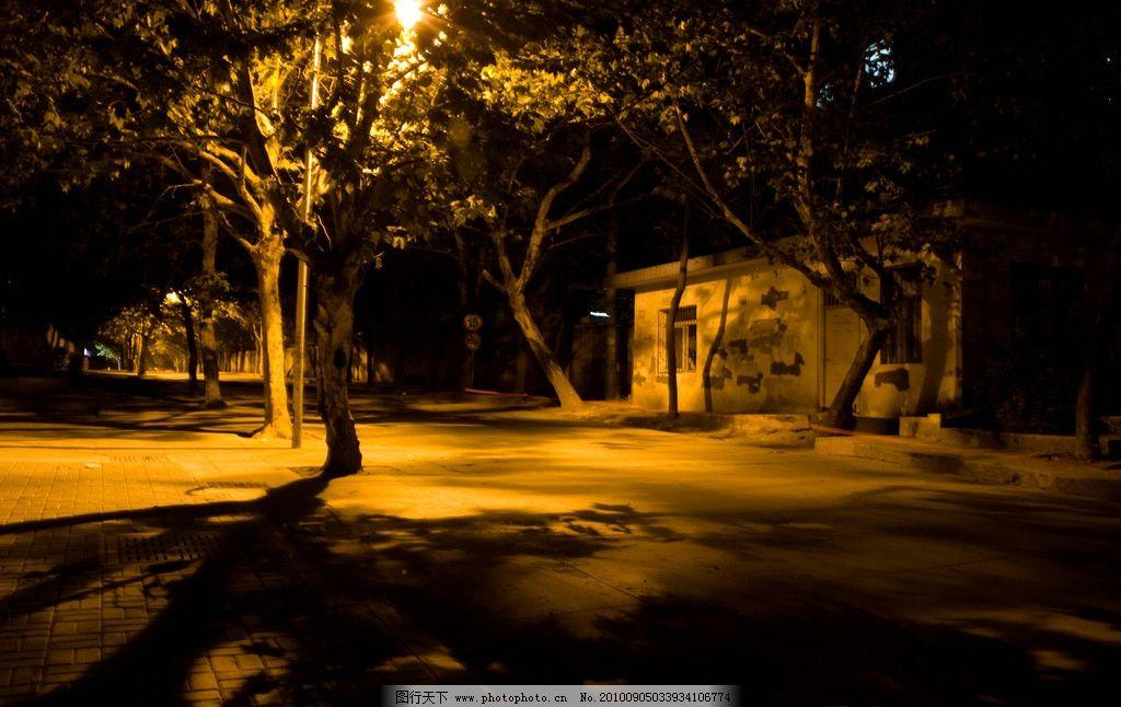 街道路灯夜景图片