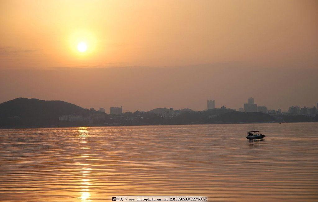 青山湖夕阳 山湖 夕阳 傍晚 湖水 意境 青山湖风光 自然风景 自然景观