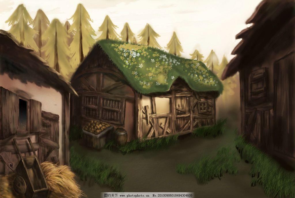 彩铅手绘木屋风景