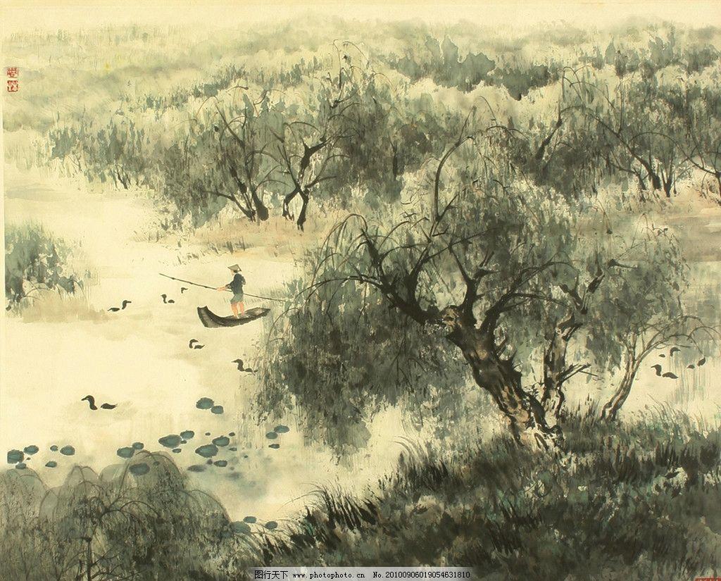 山水画 山脉 树木 飞鸟 草木 绘画书法 文化艺术 设计 72dpi jpg