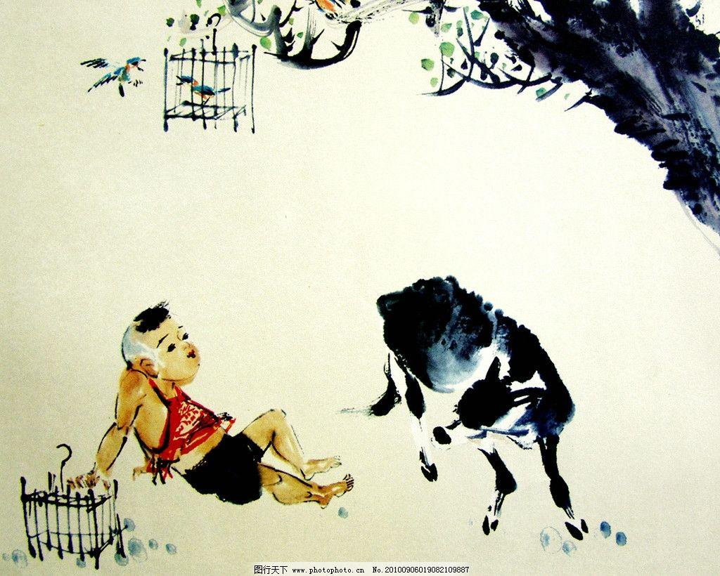 儿童水墨画 人物头像 国画社团
