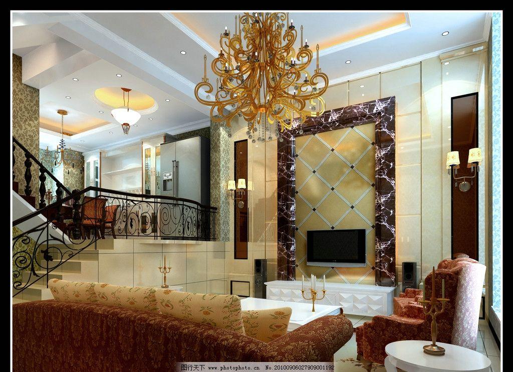 欧式错层客厅设计效果图图片