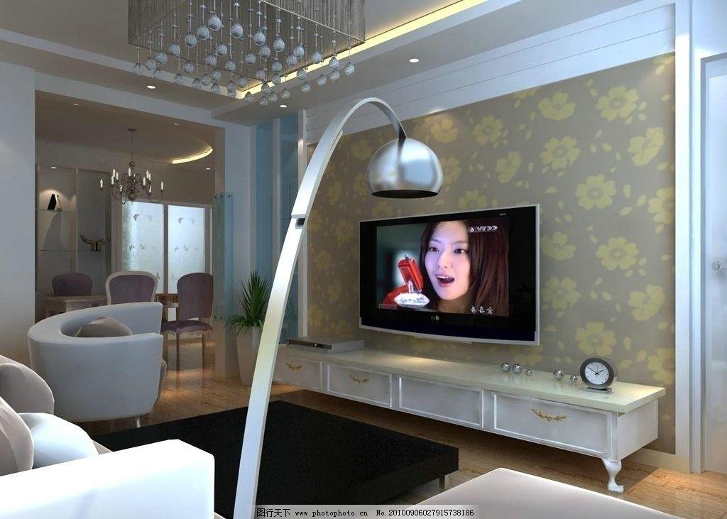 室内效果图 客厅 背景墙 灯光 电视背景墙 灯具 沙发 地板