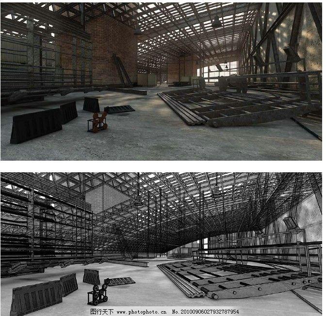 室内效果图 欧式建筑效果图 贴图文件 欧式构件 厂房效果图 厂房设计