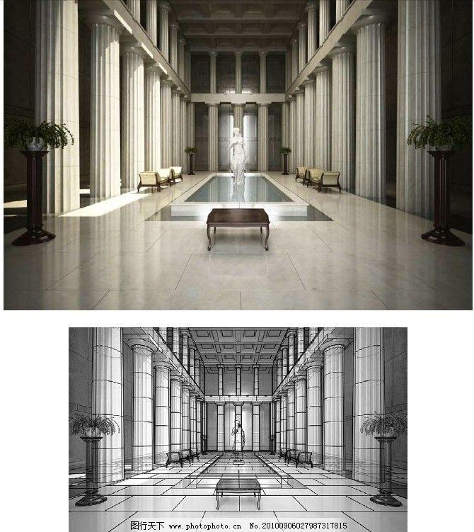 欧式大厅设计效果图 室内效果图 欧式建筑效果图 贴图文件 欧式构件
